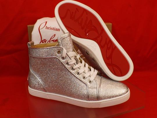 Christian Louboutin Metallic Lace Sequin Pink Gold Silver Athletic Image 5