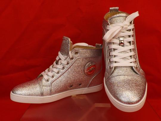 Christian Louboutin Metallic Lace Sequin Pink Gold Silver Athletic Image 4