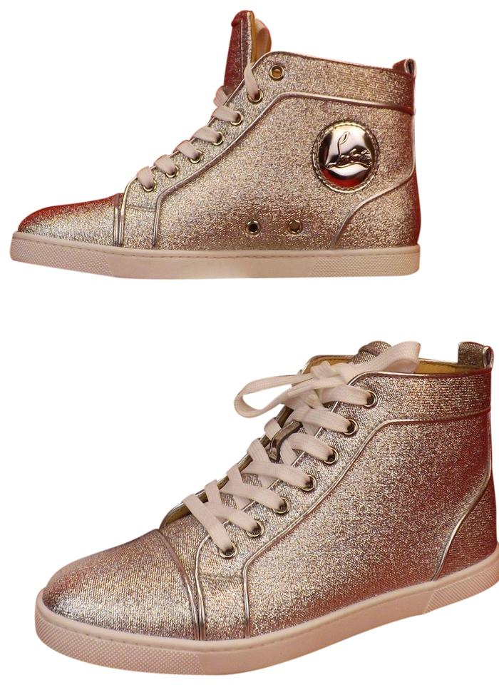 brand new 3b845 c8fc6 Christian Louboutin Silver Bip Bip Orlato Flat Lurex Leather Hi Top  Sneakers Size EU 39.5 (Approx. US 9.5) Regular (M, B) 29% off retail