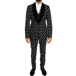 Dolce&Gabbana Black D1052-1 Crown Wool Stretch Slim Fit Suit (It 46 / S ) Groomsman Gift
