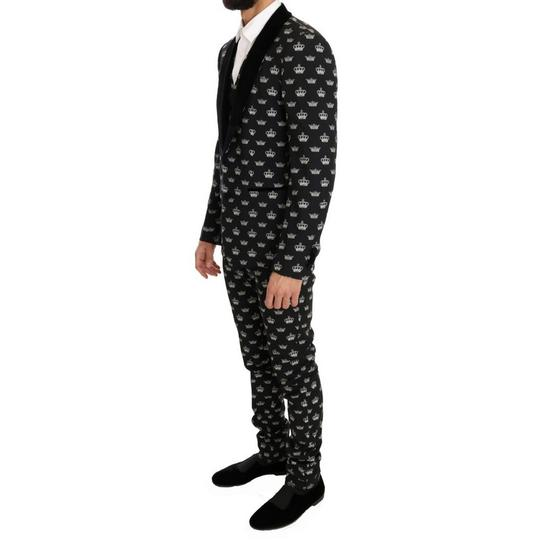 Dolce&Gabbana Black D1052-1 Crown Wool Stretch Slim Fit Suit (It 46 / S ) Groomsman Gift Image 1