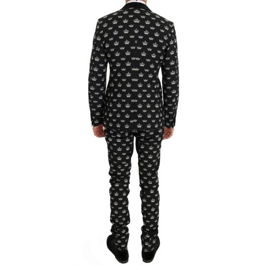 Dolce&Gabbana Black D1052-1 Crown Wool Stretch Slim Fit Suit (It 46 / S ) Groomsman Gift Image 2