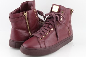 MCM Purple Men's Monogrammed Leather High-top Sneakers Shoes