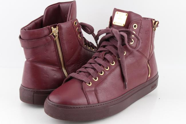 Item - Purple Men's Monogrammed Leather High-top Sneakers Shoes