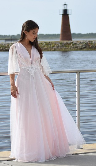 Lisa Nieves White and Blush Pink Spotted Tulle Gown Formal Wedding Dress Size 8 (M) Image 1