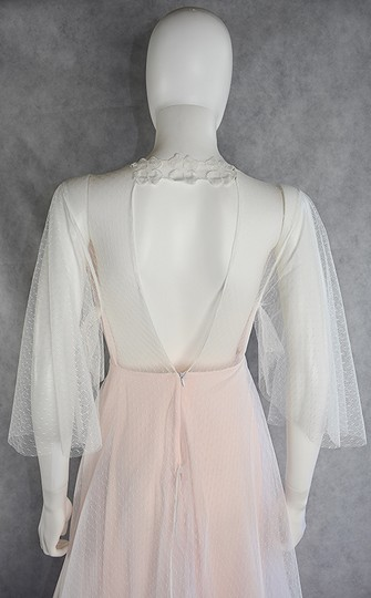 Lisa Nieves White and Blush Pink Spotted Tulle Gown Formal Wedding Dress Size 8 (M) Image 3
