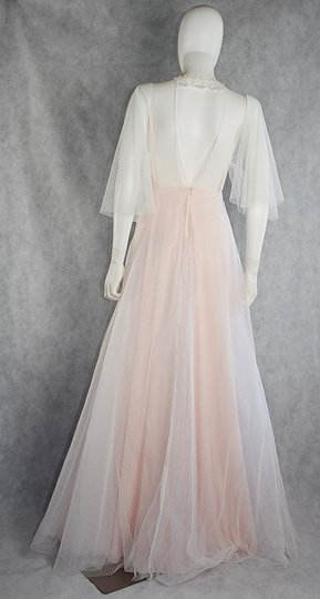 Lisa Nieves White and Blush Pink Spotted Tulle Gown Formal Wedding Dress Size 8 (M) Image 4