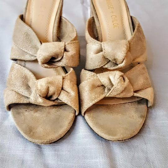 Chase & Chloe Knotted Opentoe Peeptoe Suede Beige, Light Tan Wedges Image 1