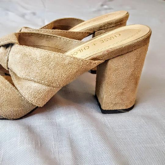Chase & Chloe Knotted Opentoe Peeptoe Suede Beige, Light Tan Wedges Image 2