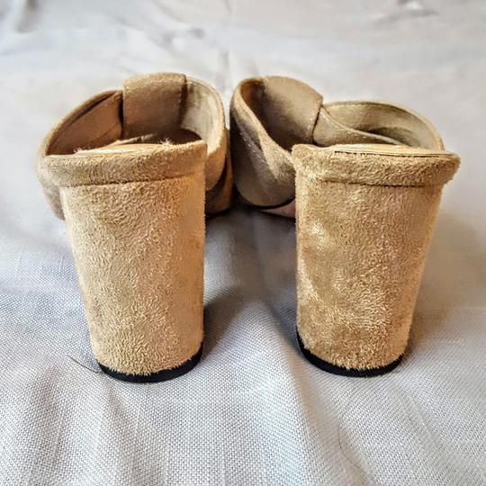 Chase & Chloe Knotted Opentoe Peeptoe Suede Beige, Light Tan Wedges Image 3