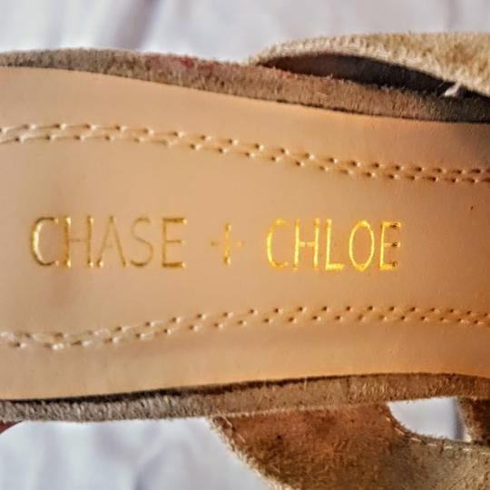 Chase & Chloe Knotted Opentoe Peeptoe Suede Beige, Light Tan Wedges Image 4