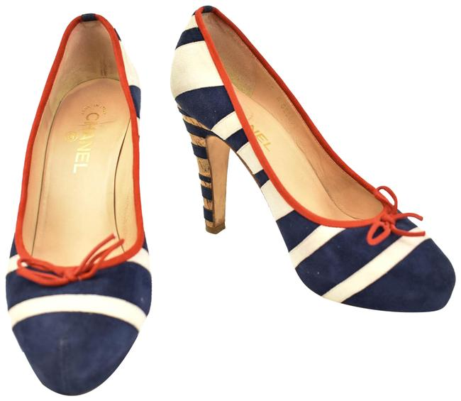 "Item - ""Runway"" - Blue/Off-white Leather & ""Cc"" Logo Heels / Pumps Size EU 39.5 (Approx. US 9.5) Regular (M, B)"