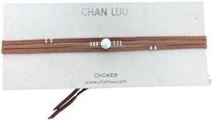 Chan Luu New Auth Chan Luu White Pearl Saddle Leather Tie Necklace Choker