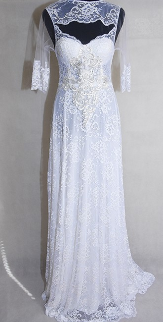 Lisa Nieves Pearl White French Lace Gown Formal Wedding Dress Size 10 (M) Image 1