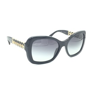 Chanel Squared Black Gold Chain Gray Gradient Sunglasses 5305 622/S6