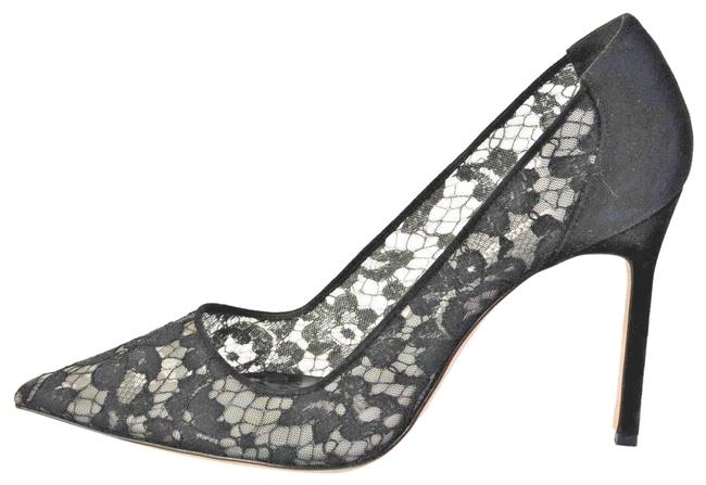 Manolo Blahnik Black Lace Pointed Pumps Size EU 39.5 (Approx. US 9.5) Narrow (Aa, N) Image 1