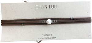 Chan Luu New Auth Chan Luu White Pearl Brown Leather Tie Necklace Choker