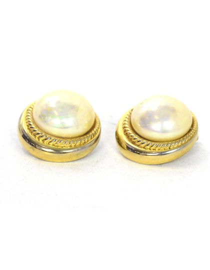 Dior Christian Dior Vintage Gold Faux Pearl Clip On Earrings