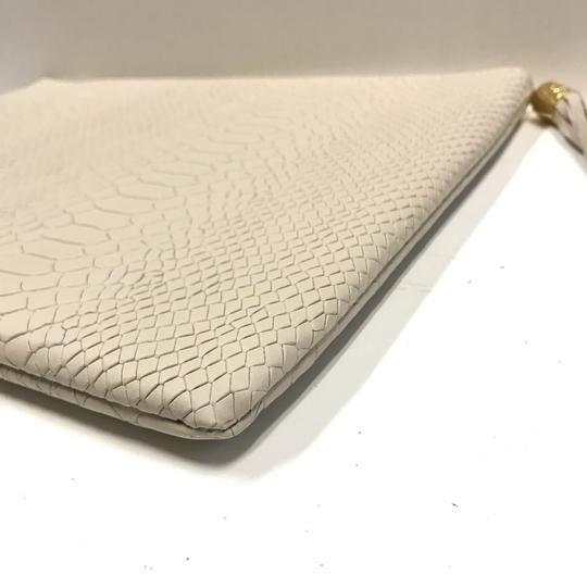 GiGi New York Leather Gold Hardware Off White Clutch