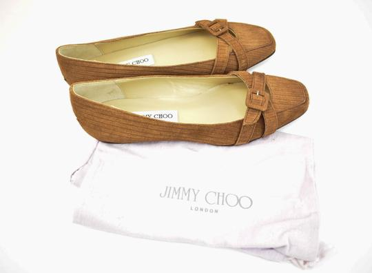 Jimmy Choo Suede Leather Logo Brown Flats