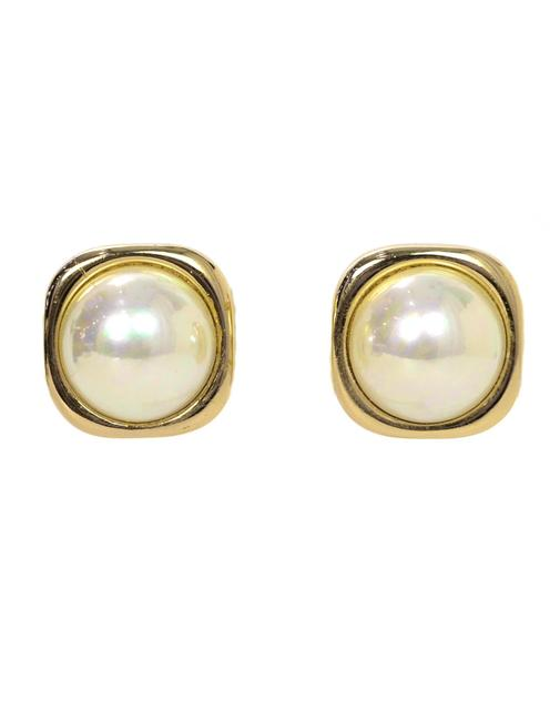 Dior Gold/White Christian Vintage Goldtone Square with Center Faux Pearl Earrings Image 1