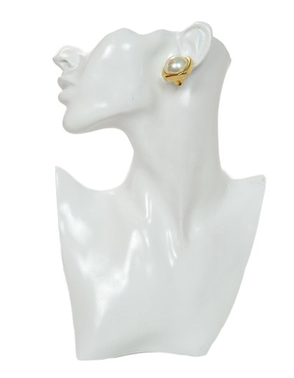 Dior Christian Dior Vintage Goldtone Square Earrings With Center Faux Pearl
