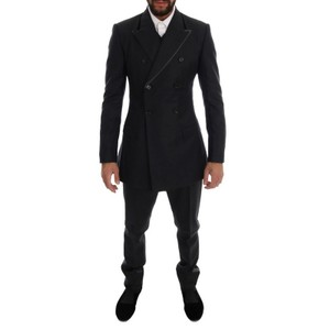 Dolce&Gabbana Gray D1110-5 Wool Double Breasted 3 Piece Suit (It 48 / M) Tuxedo