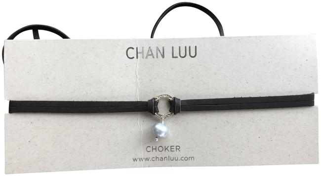 Chan Luu New Grey Pearl Silver Halo Brown Leather Double Strand C Necklace Image 1
