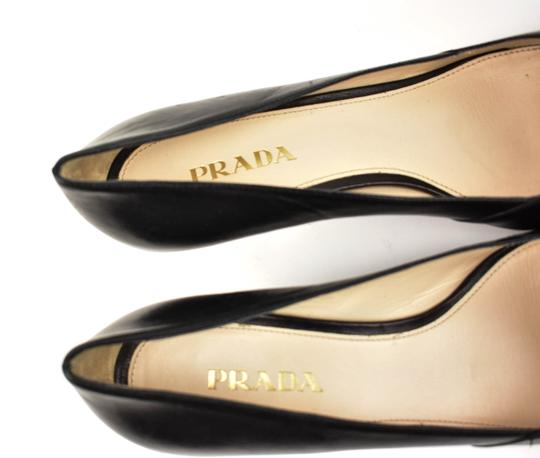 Prada Leather Studs Silver Black Pumps