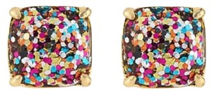Kate Spade KATE SPADE 12K Gold Plated Multi Glitter Square Studs Earrings New