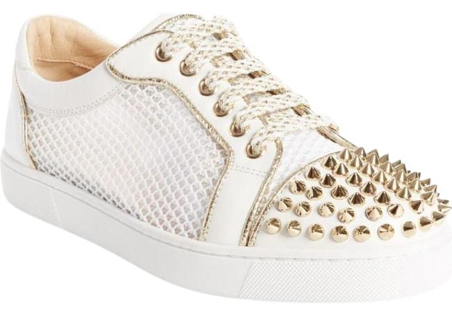 Christian Louboutin Gold Ac Vieira Light Spike Latte Leather Mesh Low Top Sneakers Size EU 39.5 (Approx. US 9.5) Regular (M, B) Christian Louboutin Gold Ac Vieira Light Spike Latte Leather Mesh Low Top Sneakers Size EU 39.5 (Approx. US 9.5) Regular (M, B) Image 1