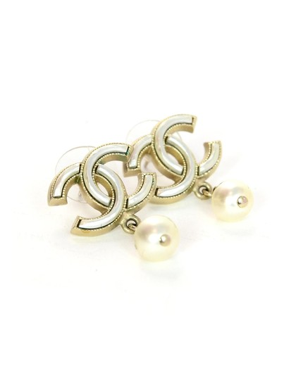 Chanel Chanel White CC Pearl Dangle Stud Earrings