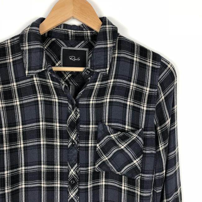 Rails Flannel Boho Soft Plaid Check Button Down Shirt Blue Black Gray