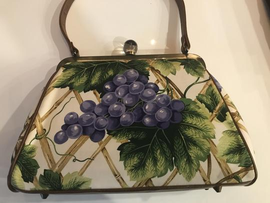 Isabella Fiore Satchel in Multi colored - green leaves, purple grapes, light colored bamboo- see pictures for details.