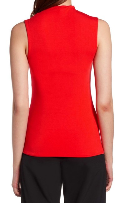 Halogen Funnel Neck Sleeveless Sleek + Smooth Layer Or Not Dress Up Or Down Top Red