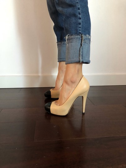 Chanel beige and black classic Chanel Pumps