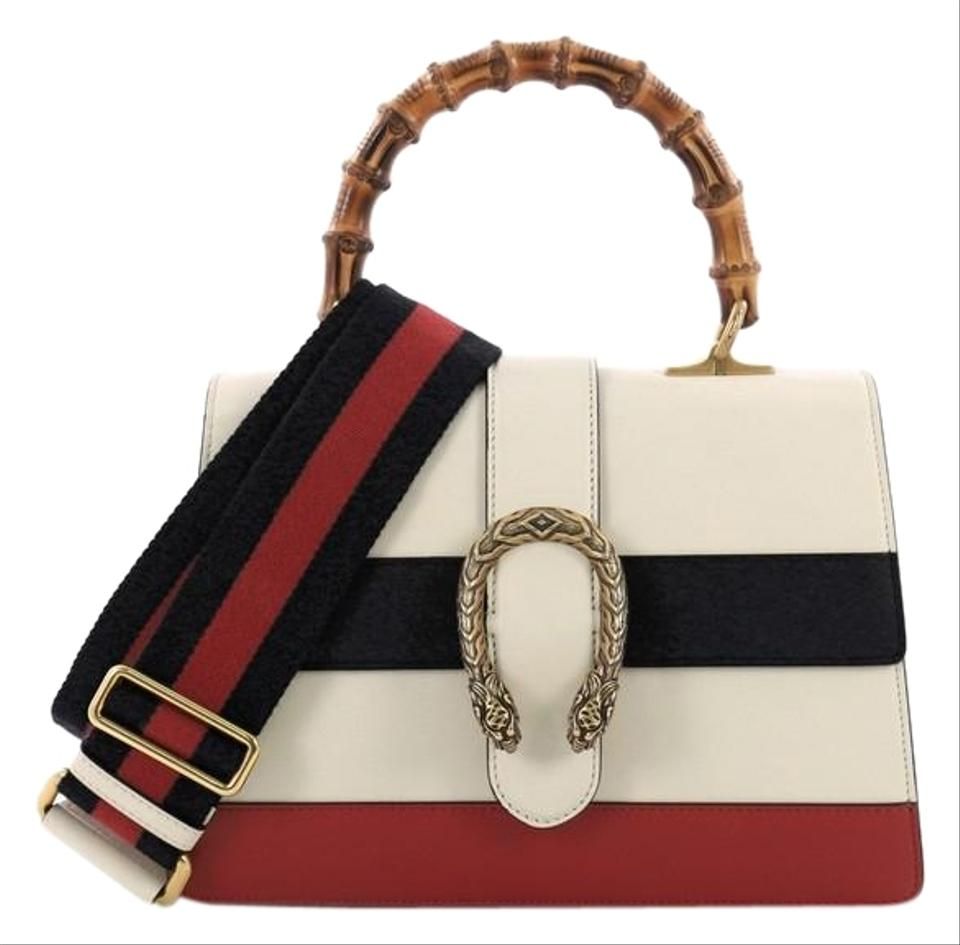 560a5f587e6 Gucci Dionysus Bamboo Top Handle Colorblock Medium White Leather Cross Body  Bag