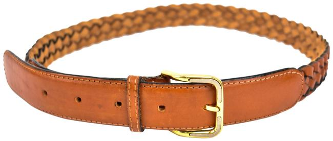 """Salvatore Ferragamo Brown Woven Leather & Logo Fits 27"""" To 31"""" (Mo) Belt Image 1"""
