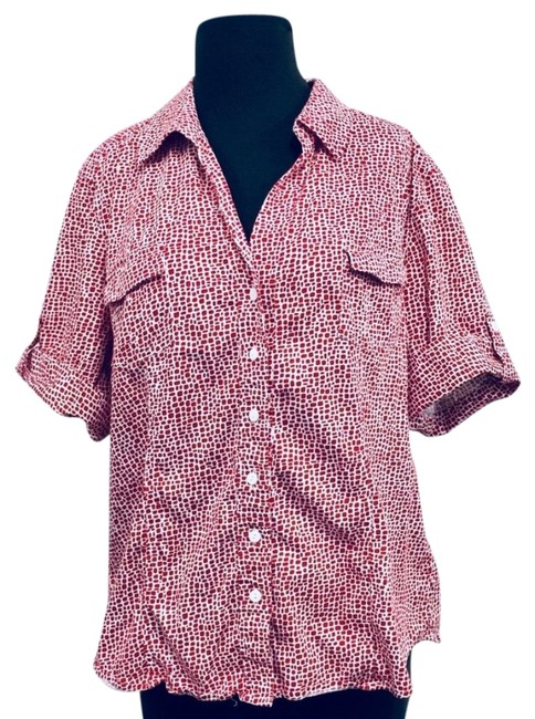 Chico's Button Down Shirt White & Red