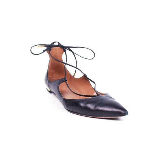 Aquazzura Black Leather Laceup Christy Pointed Toe Flats Size US 7.5 Narrow (Aa, N) Image 0
