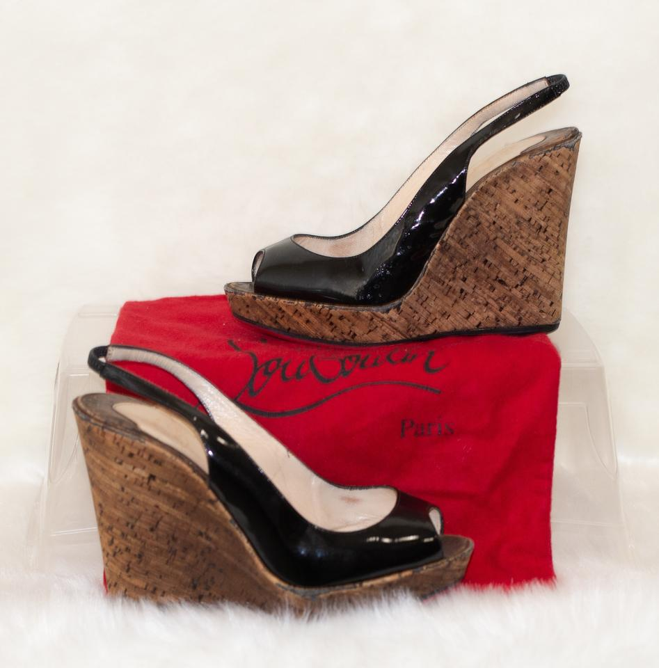 5dce4a999ce Details about Christian Louboutin Black Patent Leather Wedges EU 35.5 US 5.5