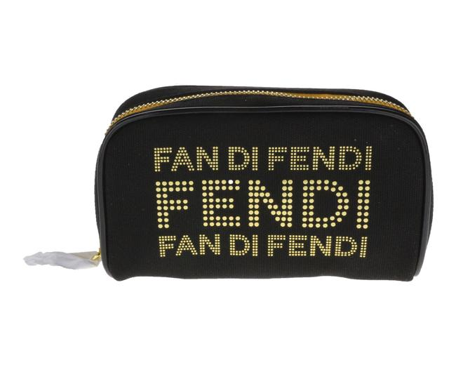 Item - Black with Bright Gold Lettering Fan Di and Leather Trousse Pouch Cosmetic Bag