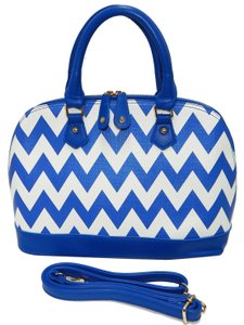 Vecceli Italy Womens Shopping Satchel in Blue and White