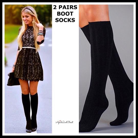 Legale 2 PAIRS BLACK LUXE KNEE HIGH TALL KNIT BOOT SOCKS