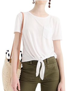 J.Crew Knotted Crop Crop T Shirt White