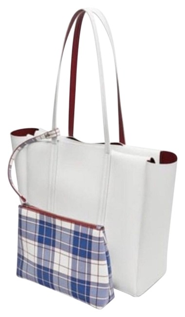 Item - Bag Reversible White/Red with Vertical Lines White/Red Faux Leather Tote