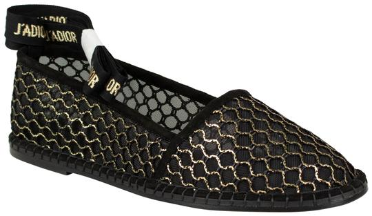 Christian Dior J'adior Lace Up Espadrille Mesh Black Flats