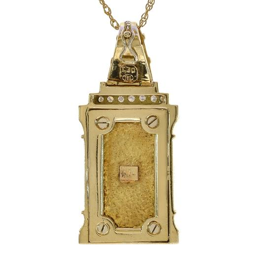 Avital & Co Jewelry 0.60 Carat Round Diamond Fine Gold Ingot Pendant 24K & 18K Yellow Gold