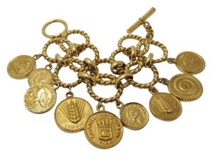 Chanel Chanel Signature CC 31 Rue Cambon Paris and Mademoiselle Coco Coin Charms Double Link Chain Toggle Bracelet