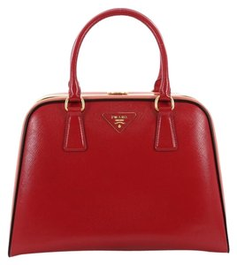 Prada Handlebag Leather Satchel in red and peach